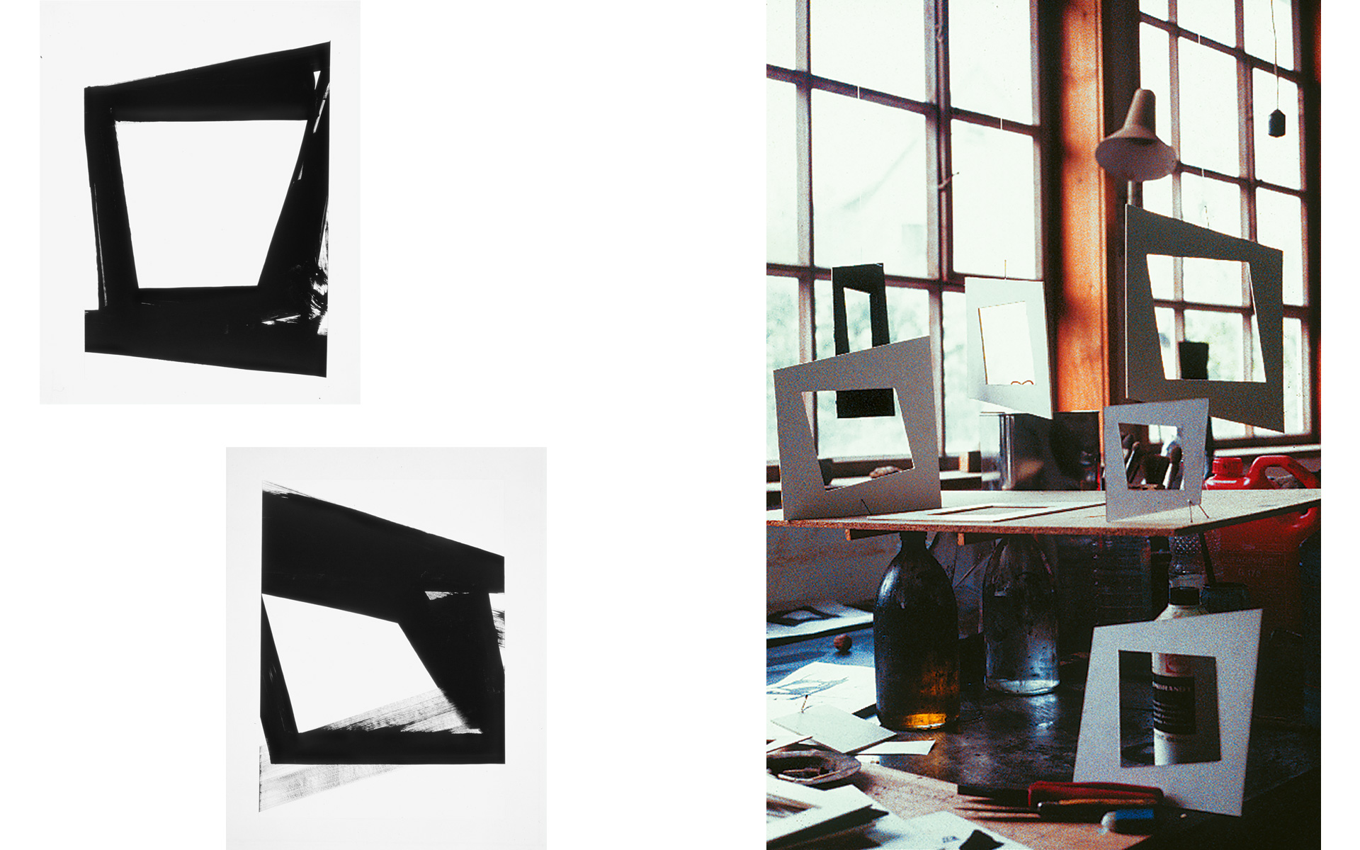 left: each O. T., 1990 Oil on paper 88 × 63 cm / right: Studio view, 1989 - Photos: Christoph Valentien