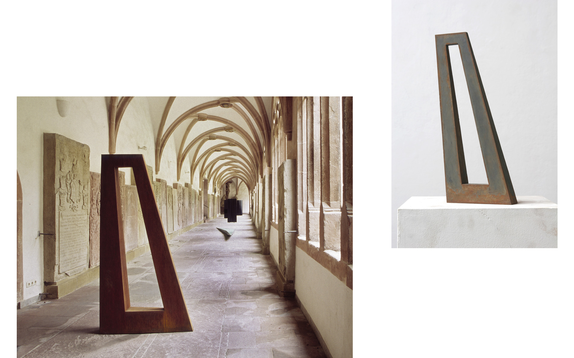left: Installation view cloister Dom St. Kilian, Würzburg, 2001 / right: WINDOW, 2008 Steel 42 × 19 × 4.5 cm - Photos: Christoph Valentien