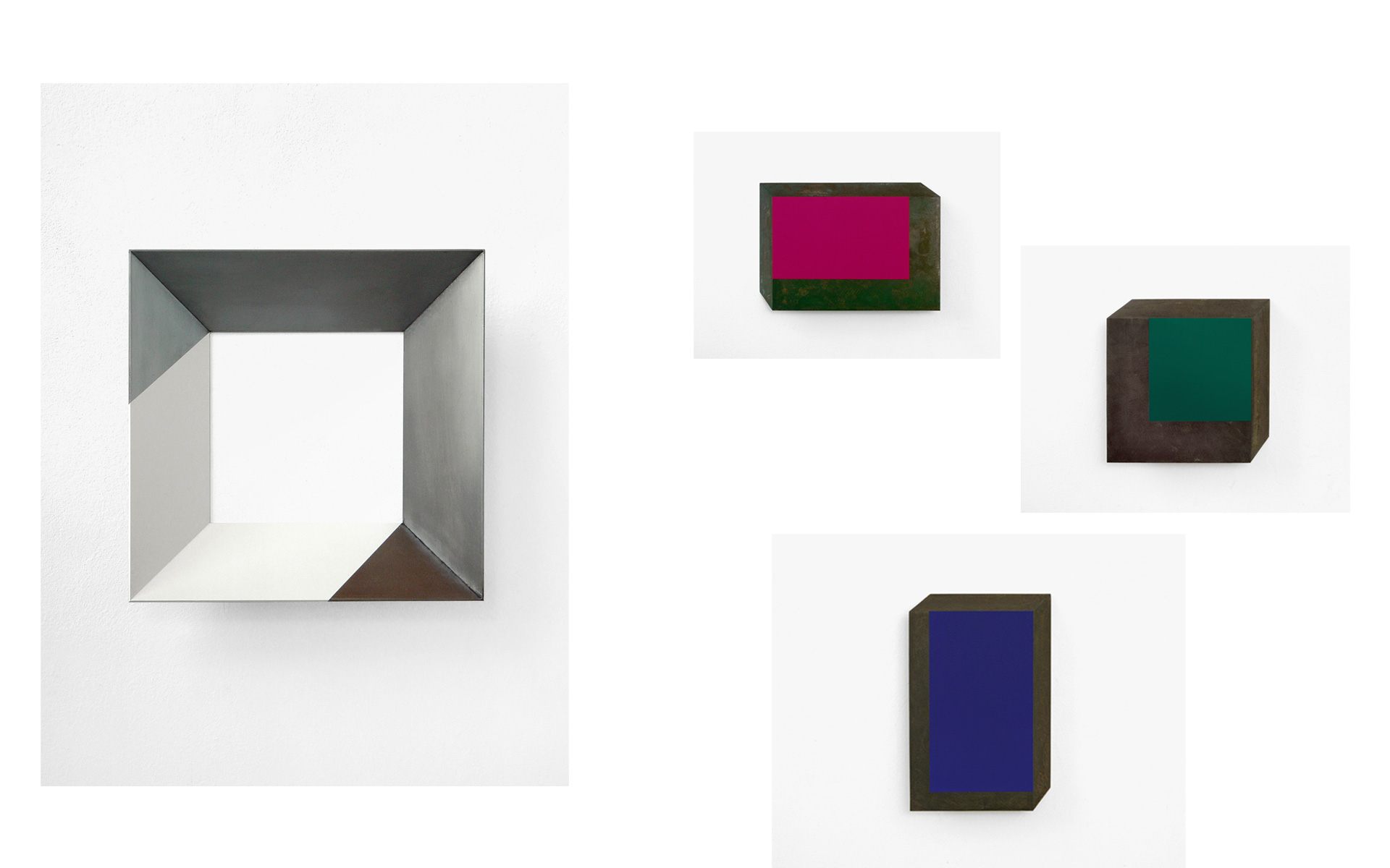 left: CUBE, 2005 Acrylic on steel 35.5 × 35.5 × 7 cm / above: O. T. (magenta), 2004 Acrylic on steel 25 × 35.4 × 4.3 cmmiddle: O. T. (hellgrün), 2004 Acrylic on steel 29.8 × 29.8 × 6.5 cm / below: O. T. (blau), 2005 Acrylic on steel 40.4 × 22.5 × 3.5 cm - Photos: Christoph Valentien