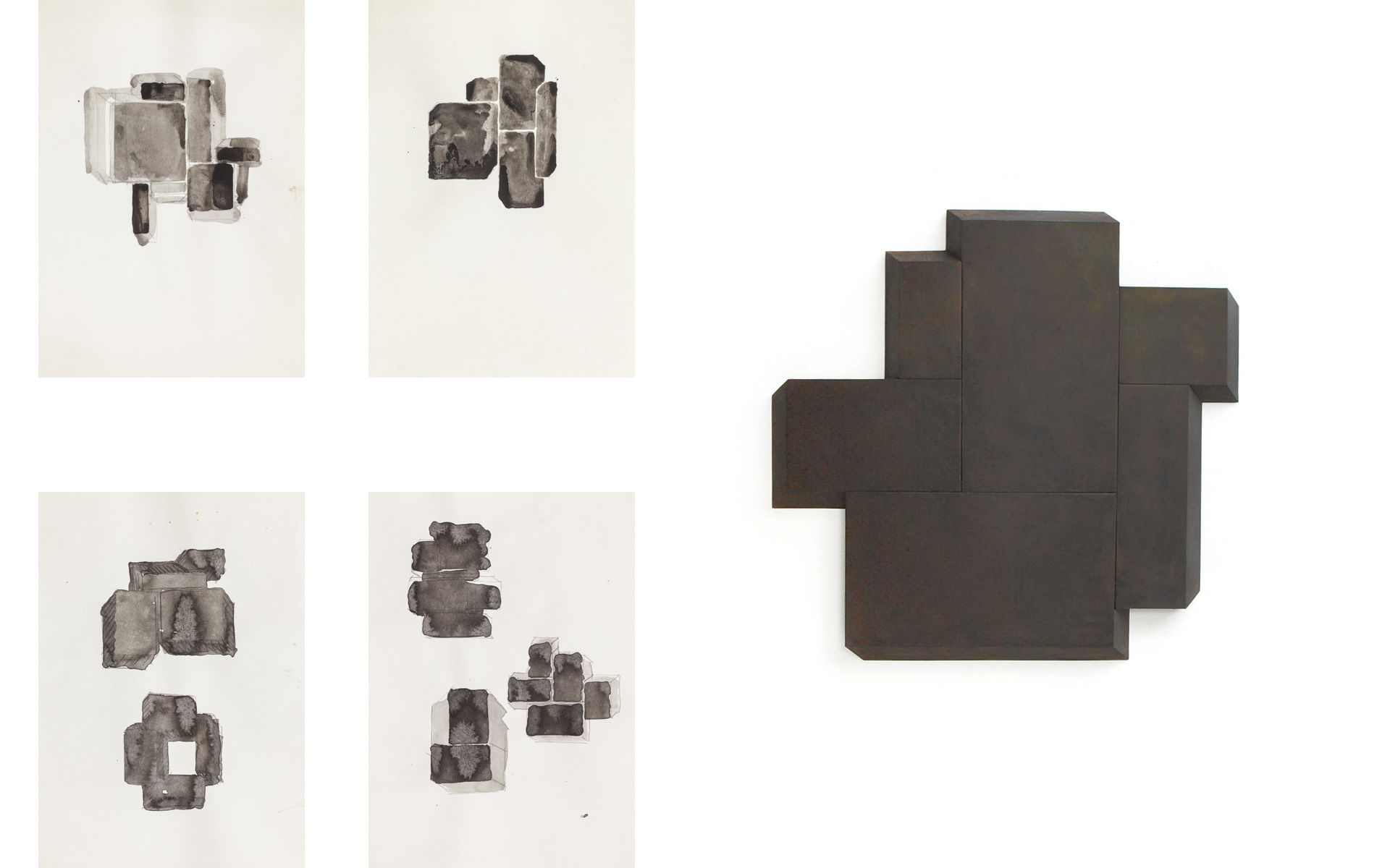 left: each O. T., 2005 Ink and pencil on paper 29.7 × 21 cm / right: PLACE, 2005 Steel 74 × 81 × 3 cm - Photos: Christoph Valentien