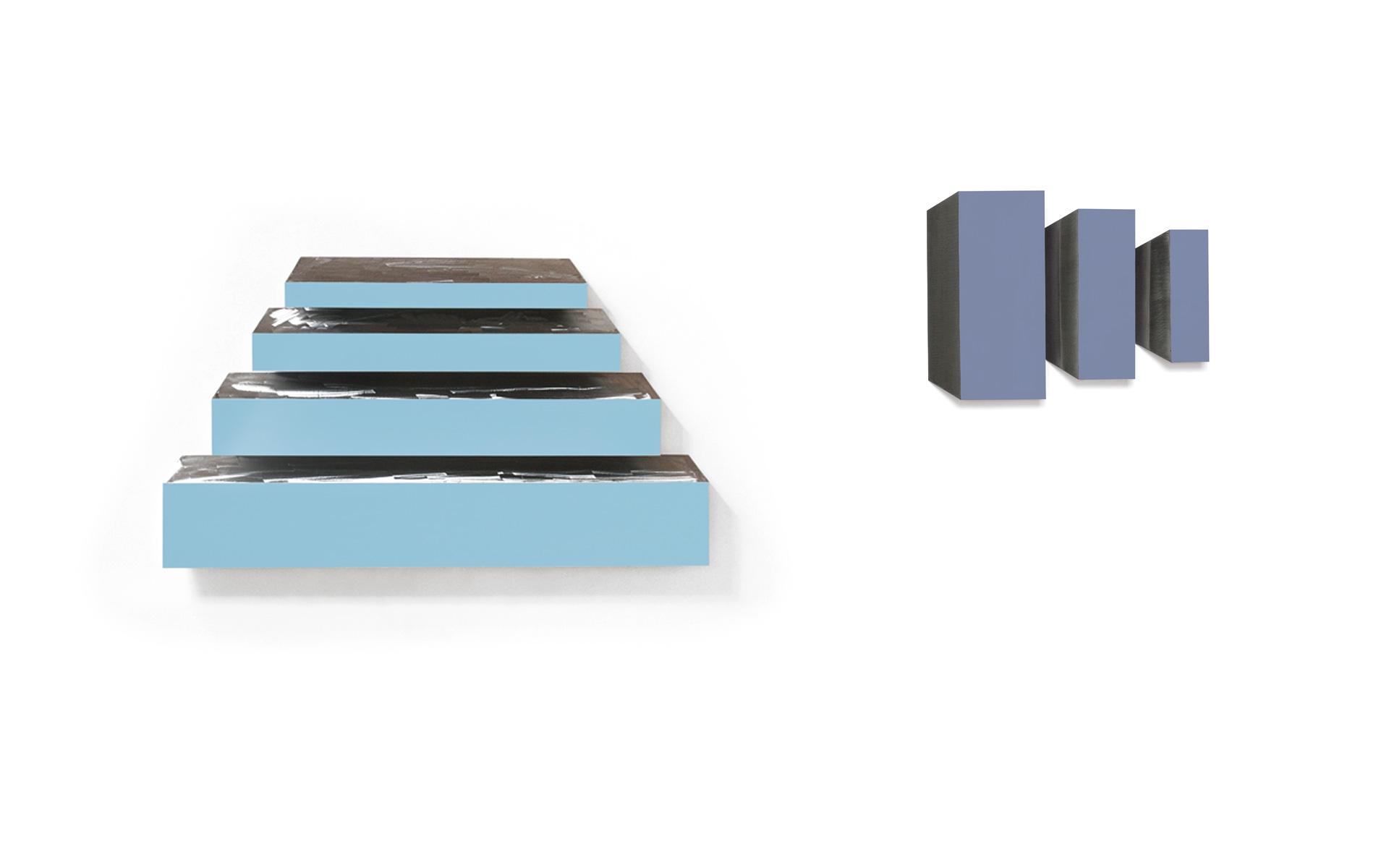 left: LANE, four parts, 2007 Acrylic on steel 92.5 × 162.3 × 8 cm / right: VENDOME, three parts, 2007 Acrylic on steel 43.8 × 59.4 × 4.2 cm - Photos: Christoph Valentien