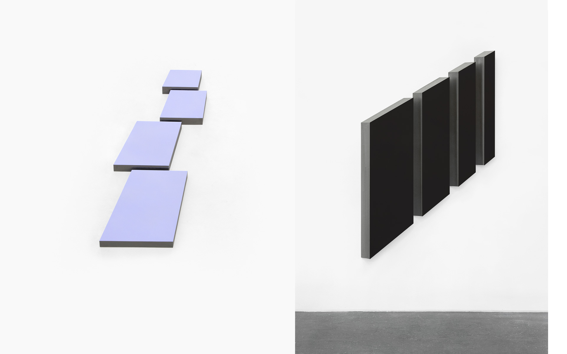 left: FLY, four parts, 2011 Acrylic on steel 66 × 112.5 × 2.8 cm / right: PORT, four parts, 2009 Acrylic on steel 194 × 125 × 8.5 cm - Photos: Christoph Valentien