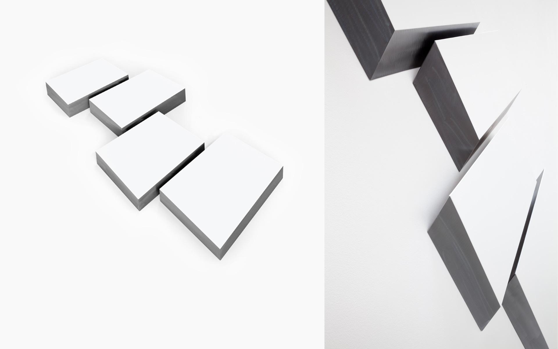 MIST, four parts, 2016 Acrylic on steel 110 × 124 × 5.5 cm