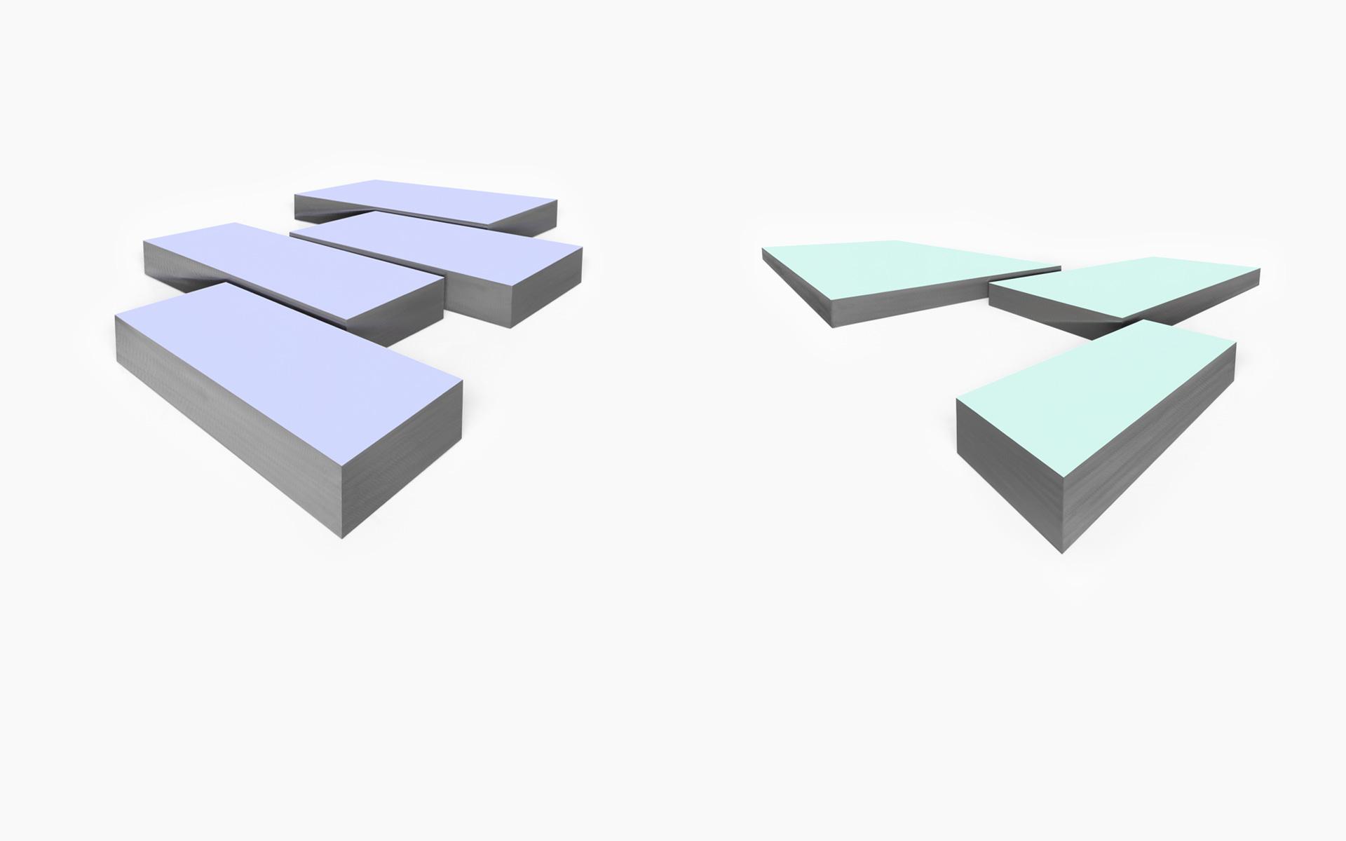 left: RUN, four parts, 2017 Acrylic on steel 72.5 × 95 × 7.5 cm / right: MIS, three parts, 2018 Acrylic on steel 70.2 × 110.7 × 10.7 cm - Photos: Christoph Valentien