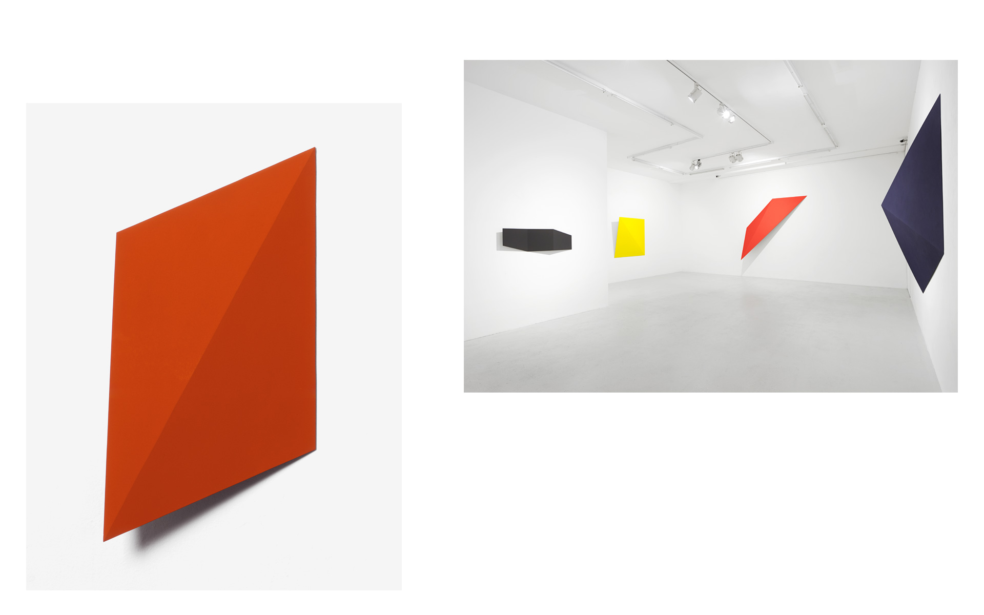 left: O. T., 1991 Acrylic on steel 68 × 33.5 × 8 cm / right: Installation view Gallery Lange + Pult, Zürich, 2015 - Photos: Sully Balmassière
