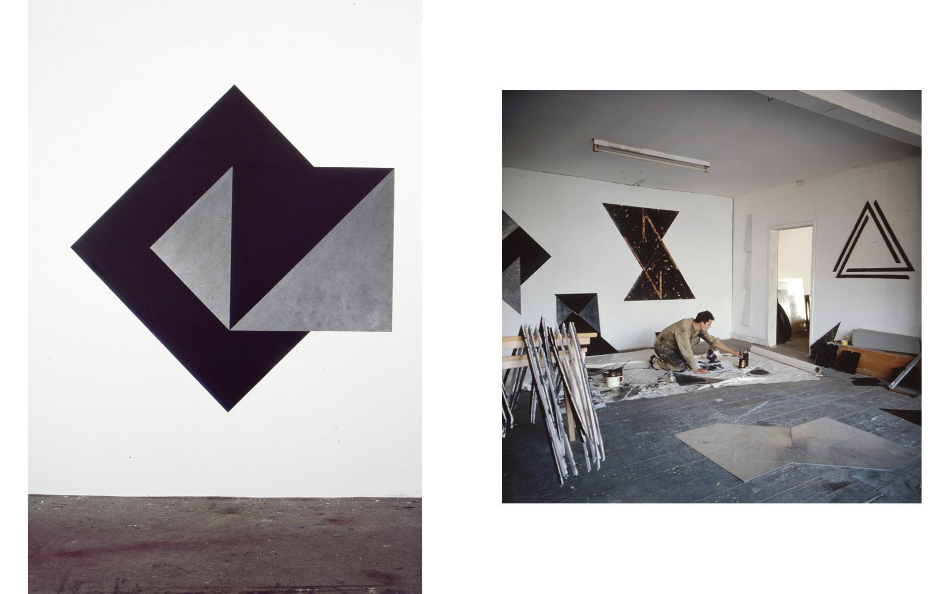 left: O. T., 1986 Oil and graphite on aluminum 212 × 212 × 0.2 cm right: Studio view, 1988 - Photos: Christoph Valentien