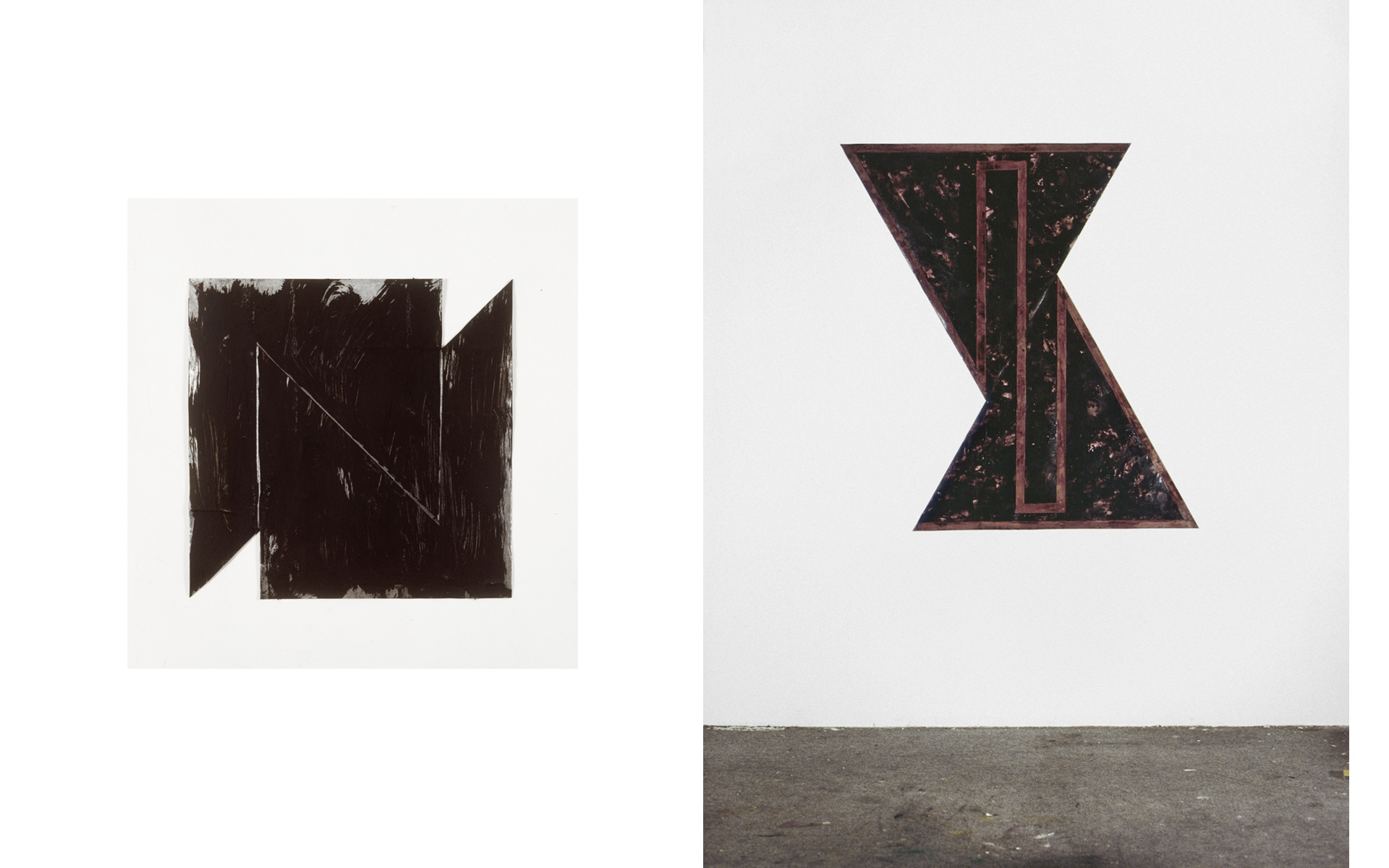 left: O. T., 1987 Oil on steel 30 × 30 × 0.1 cm / right: O. T., two parts, 1987 Tar on paper 127 × 121 cm - Photos: Christoph Valentien