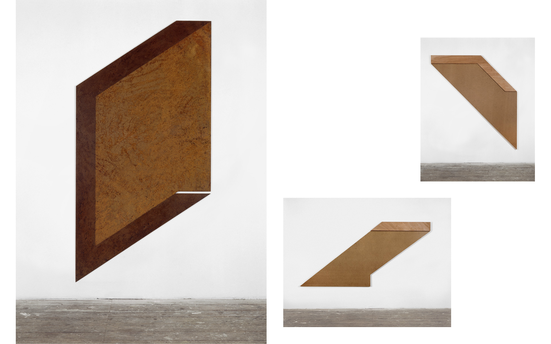 left: Relief II, 1988 Steel rusted, oiled 200 × 100 × 0.5 cm / above: O. T., two parts, 1988 Hardboard, plywood 202 × 184 × 4.5 cm / below: O. T., two parts, 1988 Hardboard, plywood 130 × 244 × 4.5 cm - Photos: Christoph Valentien