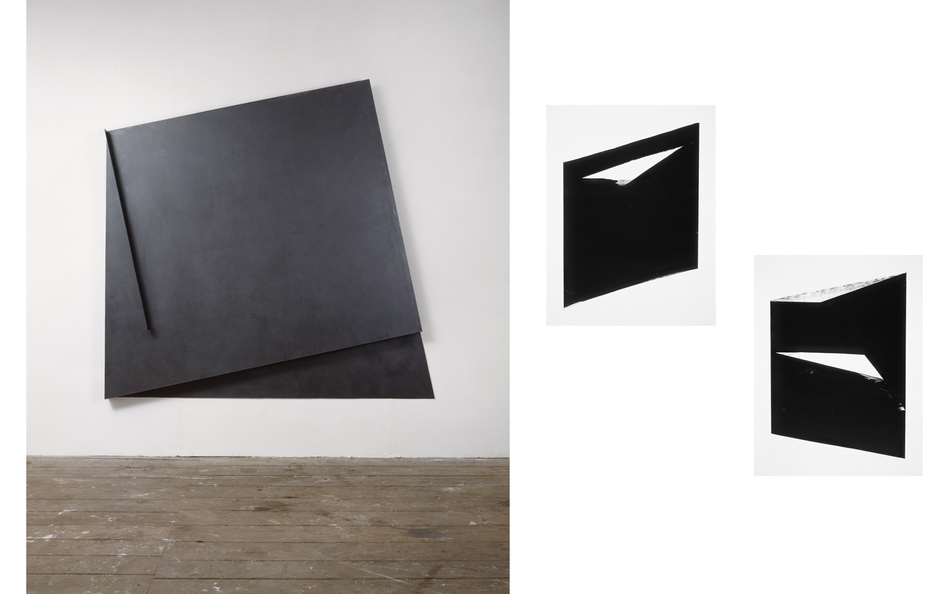 left: O. T., 1990 Lacquer on steel 171 × 176 × 18 cm / right: each O. T., 1990 Oil on paper 88 × 63 cm - Photos: Christoph Valentien