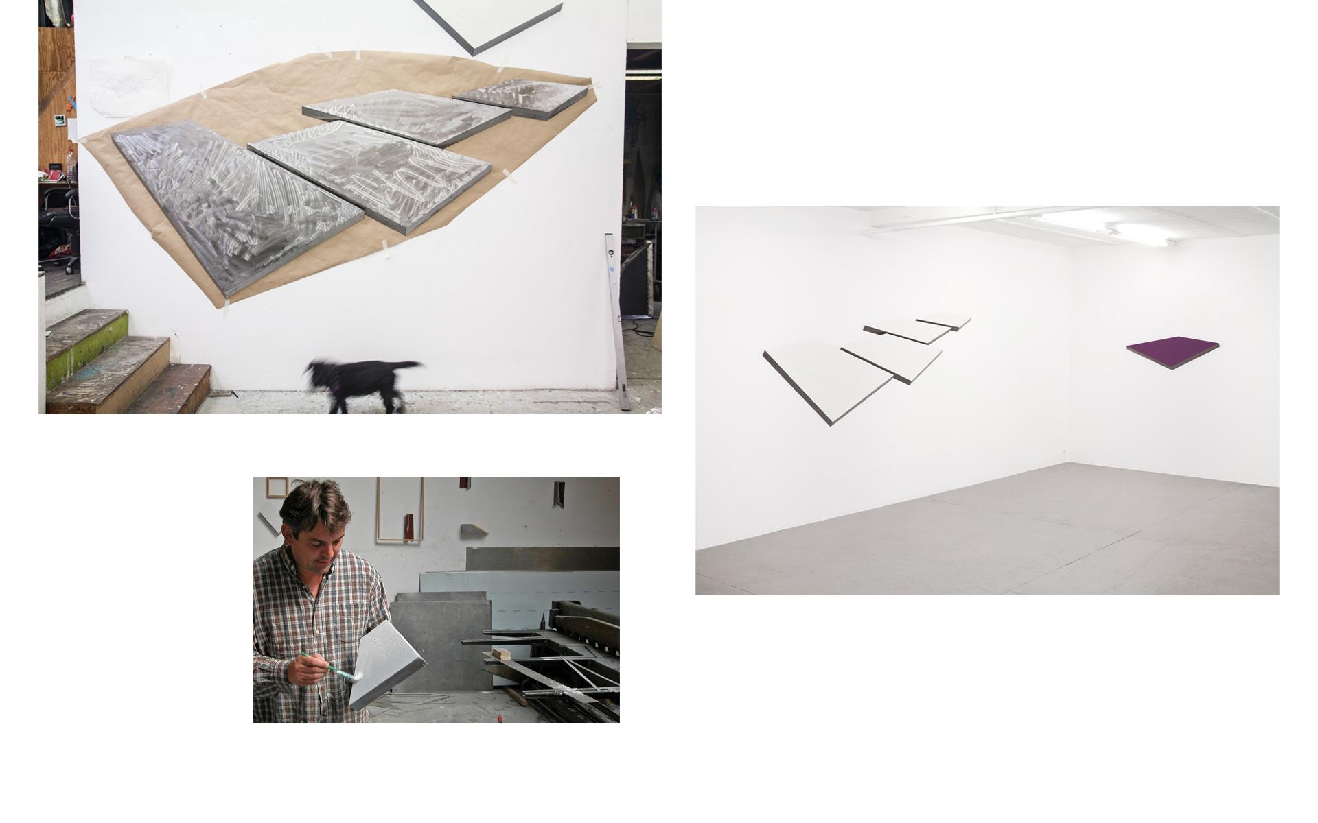 left: Studio views, 2012 / right: Installation view Gallery Une, Neuchâtel, 2012 - Photos: Christoph Valentien