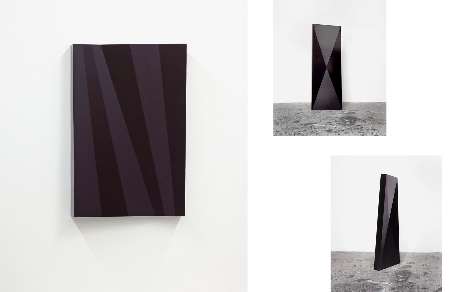 left: O. T. (schwarz/violett), 1998 Acrylic on steel 89.5 × 58.5 × 10 cm / right: ZONE O, 1999 Lacquer on steel 200 × 70 × 10 cm different perspectives - Photos: Christoph Valentien